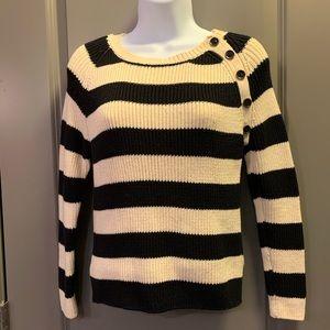 Buttoned Stripe Sweater